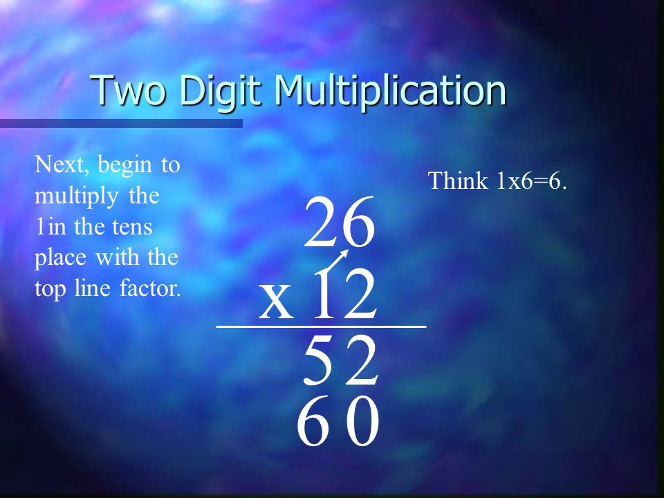 Two Digit Multiplication 68 x35 04 0 4 20 + 083 4 3 2 2