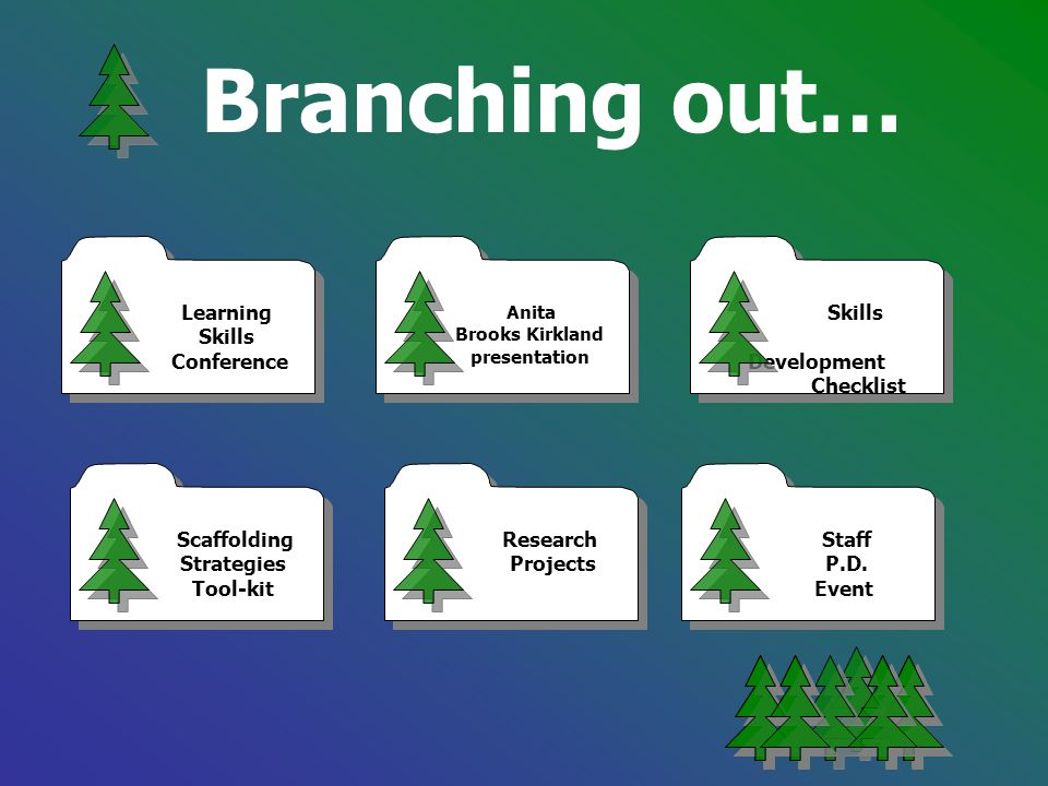 Branching out… Learning Skills Conference Learning Skills Conference Research Projects Research Projects Scaffolding Strategies Tool-kit Scaffolding S