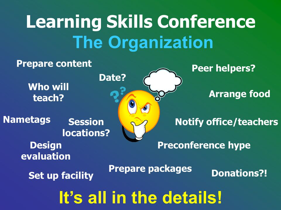 Learning Skills Conference The Organization Session locations? Who will teach? Prepare content Peer helpers? Arrange food Date? Set up facility Donati