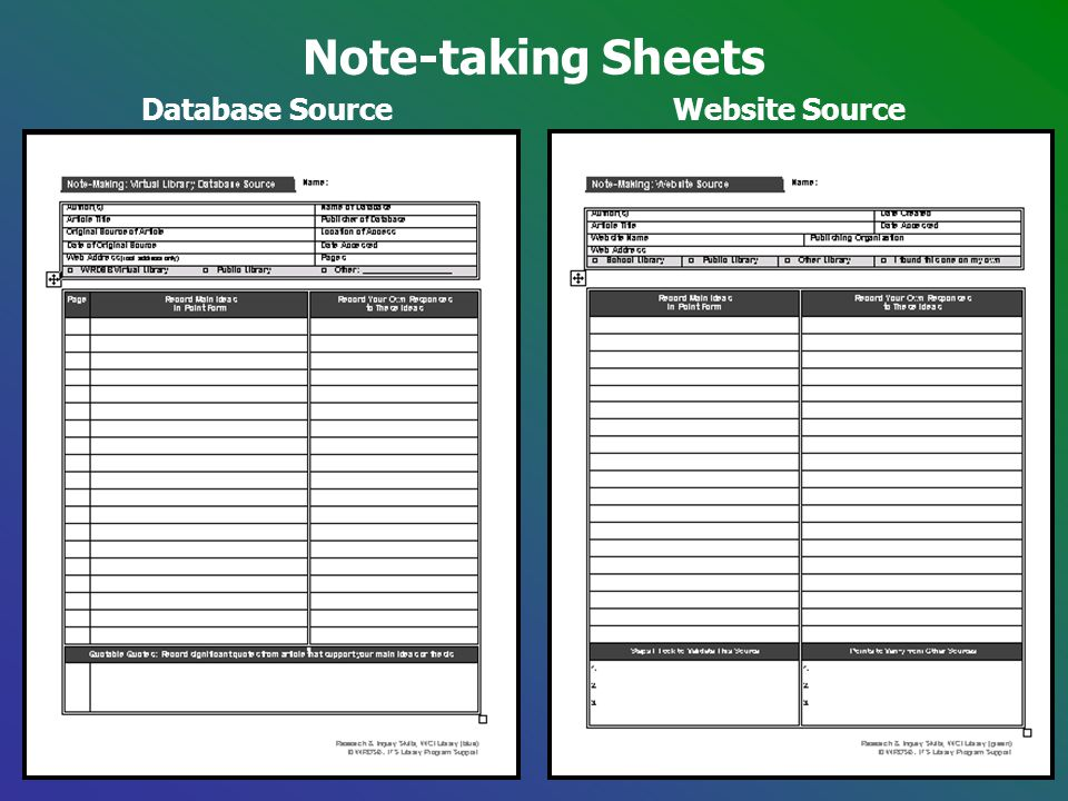 Note-taking Sheets Database SourceWebsite Source