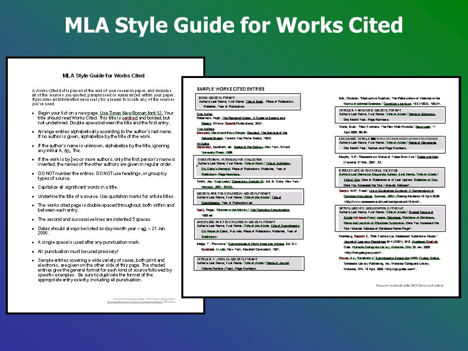 MLA Style Guide for Works Cited