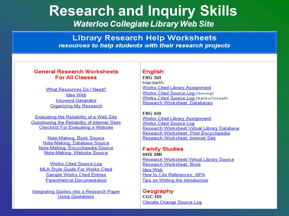 Research and Inquiry Skills Waterloo Collegiate Library Web Site