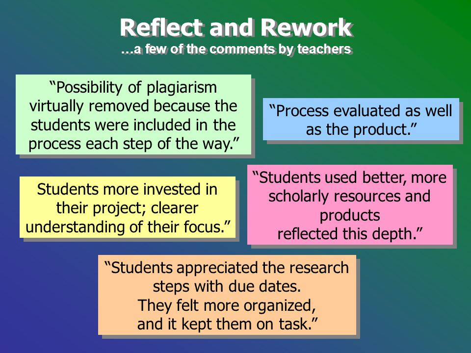 "Reflect and Rework …a few of the comments by teachers Reflect and Rework …a few of the comments by teachers ""Possibility of plagiarism virtually remov"