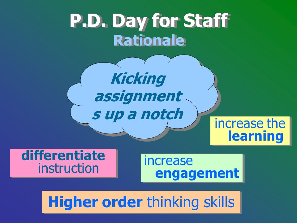 Higher order thinking skills P.D. Day for Staff Rationale P.D. Day for Staff Rationale Kicking assignment s up a notch differentiate instruction incre
