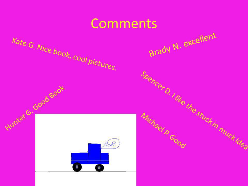 Comments Brady N. excellent Hunter G. Good Book Kate G. Nice book, cool pictures. Michael P. Good Spencer D. I like the stuck in muck idea