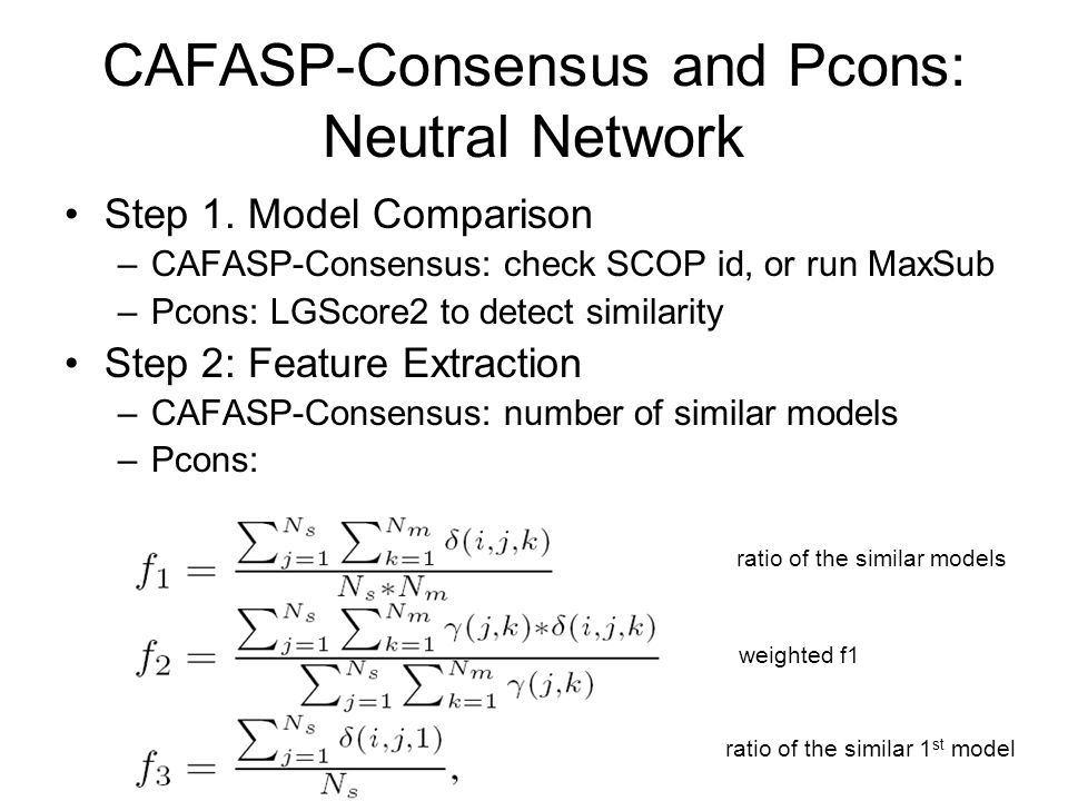 CAFASP-Consensus and Pcons: Neutral Network Step 1.