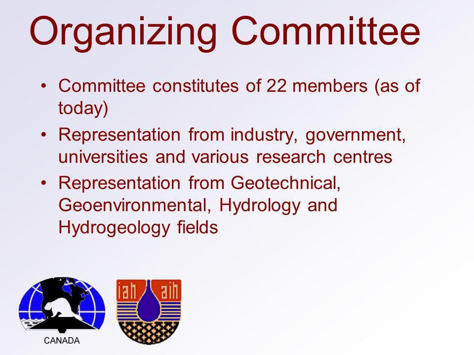 Organizing Committee Committee constitutes of 22 members (as of today) Representation from industry, government, universities and various research centres Representation from Geotechnical, Geoenvironmental, Hydrology and Hydrogeology fields