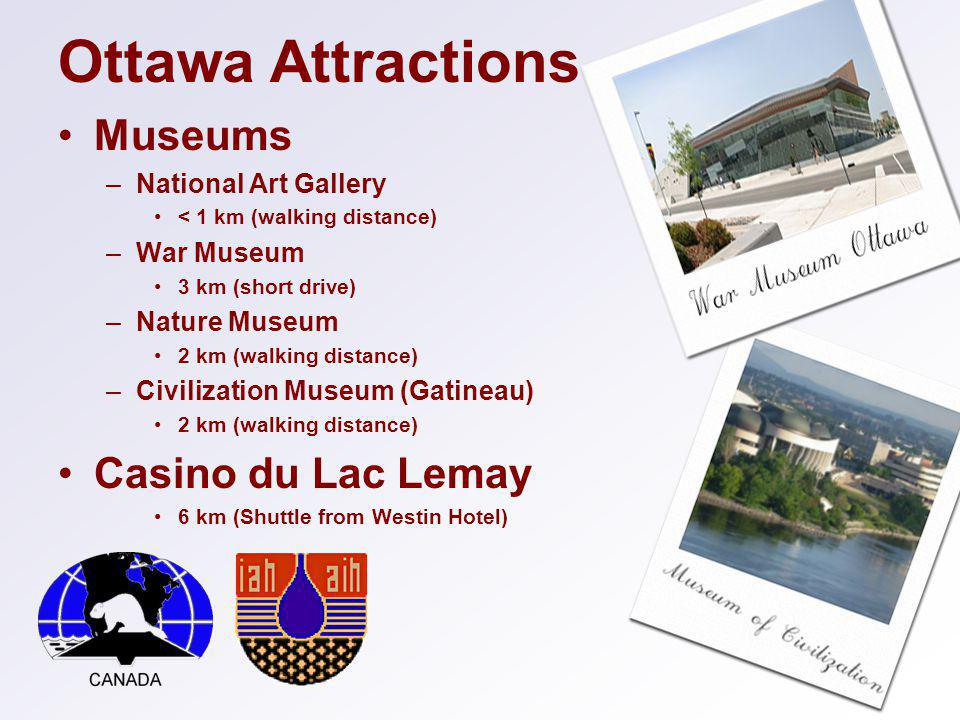 Ottawa Attractions Museums –National Art Gallery < 1 km (walking distance) –War Museum 3 km (short drive) –Nature Museum 2 km (walking distance) –Civilization Museum (Gatineau) 2 km (walking distance) Casino du Lac Lemay 6 km (Shuttle from Westin Hotel)