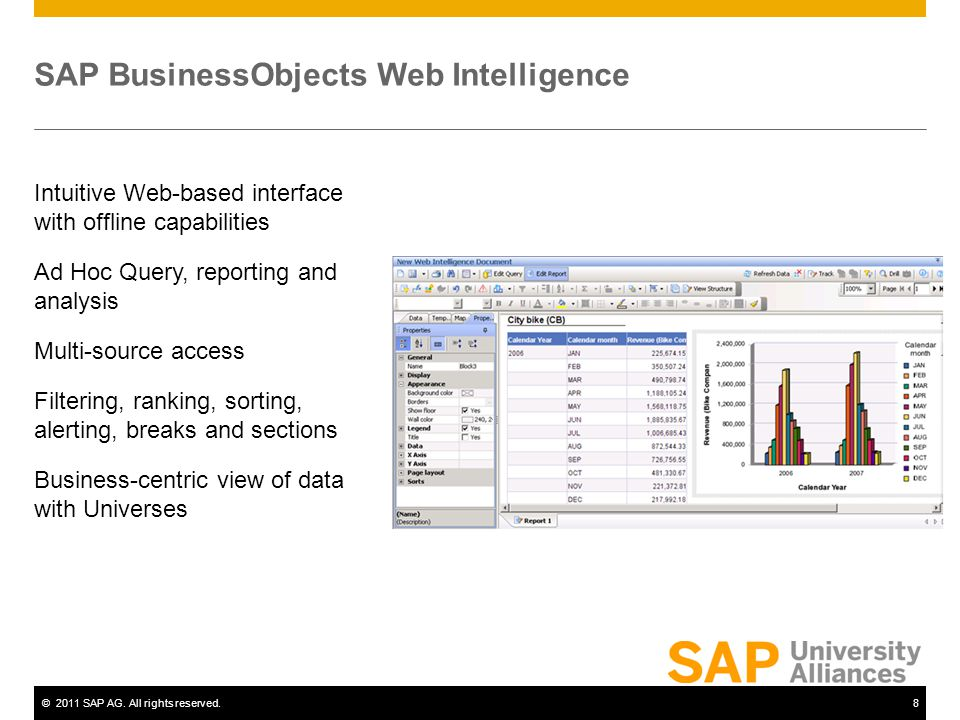 ©2011 SAP AG. All rights reserved.8 SAP BusinessObjects Web Intelligence Intuitive Web-based interface with offline capabilities Ad Hoc Query, reporti