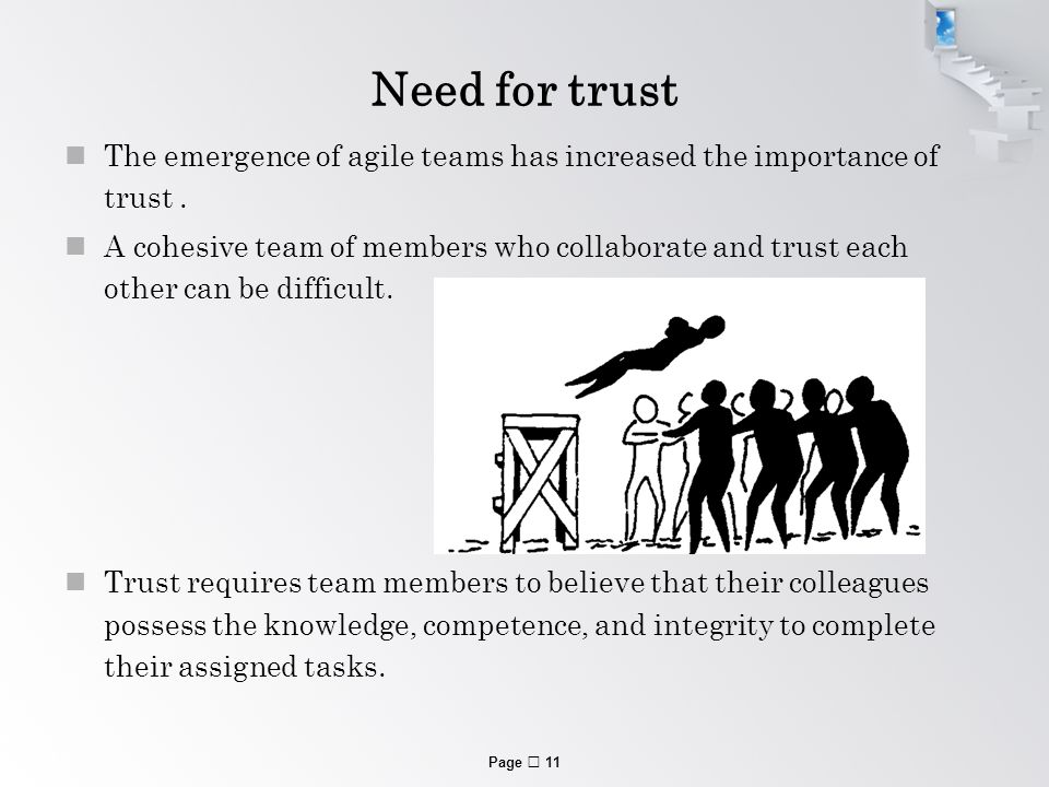 Page  11 Need for trust The emergence of agile teams has increased the importance of trust.