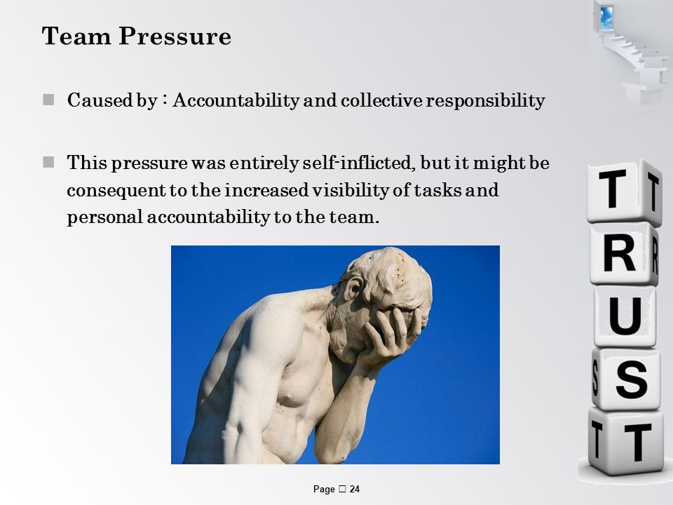 Page  24 Team Pressure Caused by : Accountability and collective responsibility This pressure was entirely self-inflicted, but it might be consequent to the increased visibility of tasks and personal accountability to the team.