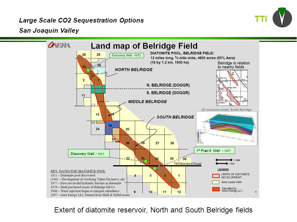 TTI Large Scale CO2 Sequestration Options San Joaquin Valley Extent of diatomite reservoir, North and South Belridge fields