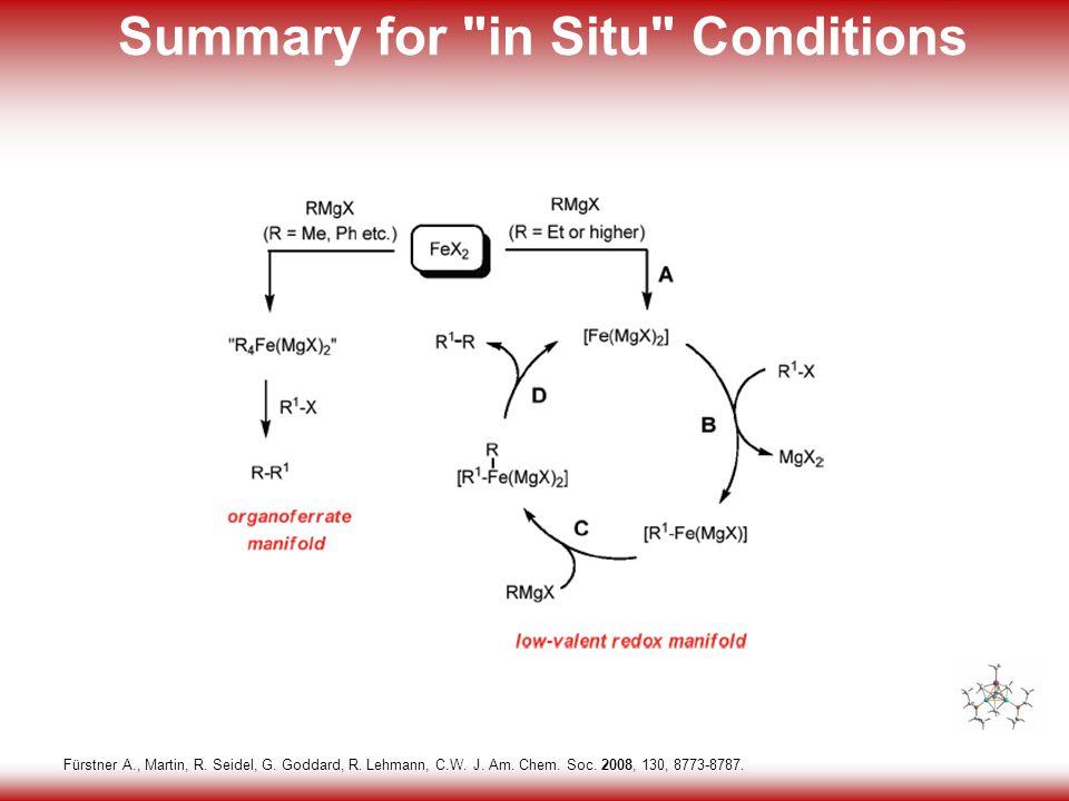 21 Summary for in Situ Conditions Fürstner A., Martin, R.