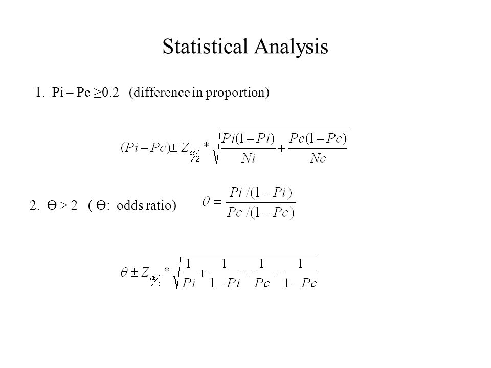 Statistical Analysis 1. Pi – Pc ≥0.2 (difference in proportion) 2. Ө > 2 ( Ө: odds ratio)