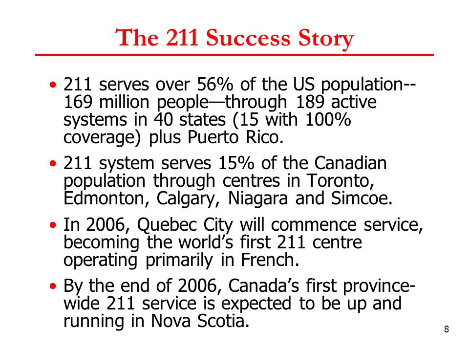 19 BC 211 Objectives To promote value of social service sector in BC To enhance community planning To create economies of scale around administration in the delivery of Information & Referral services in BC To meet the CRTC defined success criteria To be fully integrated in North America-wide 211 service delivery system.