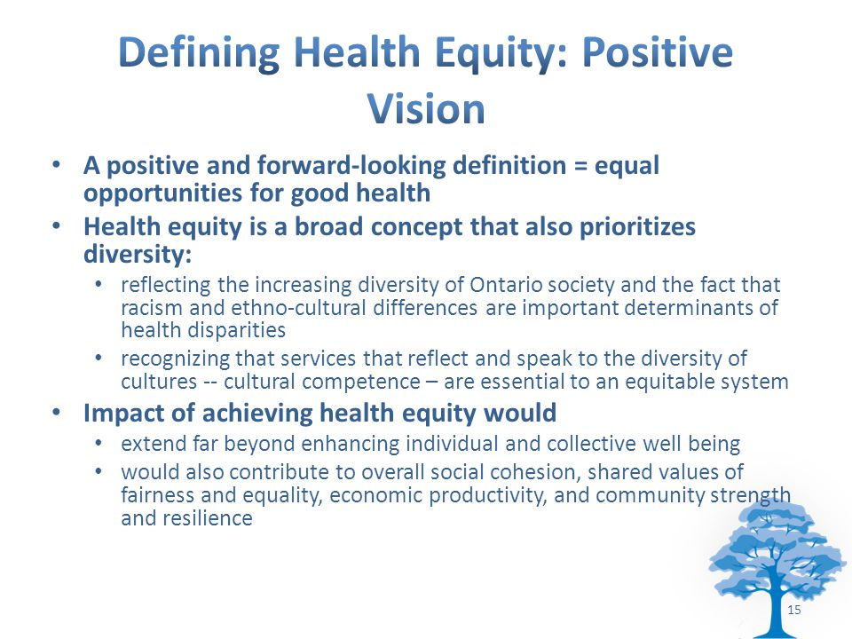 A positive and forward-looking definition = equal opportunities for good health Health equity is a broad concept that also prioritizes diversity: reflecting the increasing diversity of Ontario society and the fact that racism and ethno-cultural differences are important determinants of health disparities recognizing that services that reflect and speak to the diversity of cultures -- cultural competence – are essential to an equitable system Impact of achieving health equity would extend far beyond enhancing individual and collective well being would also contribute to overall social cohesion, shared values of fairness and equality, economic productivity, and community strength and resilience 15