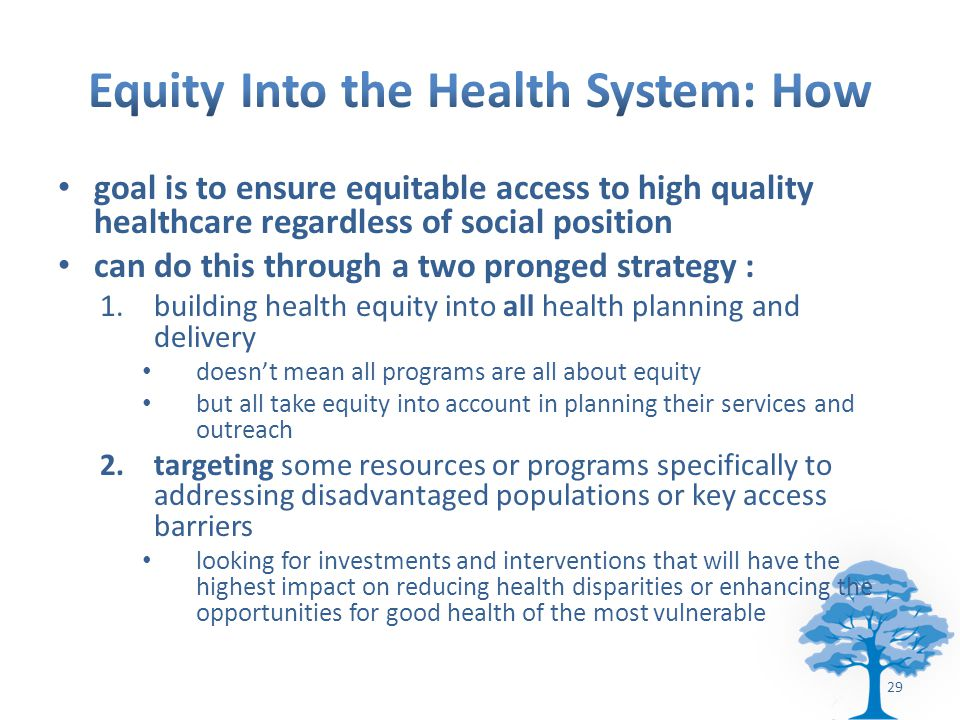 goal is to ensure equitable access to high quality healthcare regardless of social position can do this through a two pronged strategy : 1.building health equity into all health planning and delivery doesn't mean all programs are all about equity but all take equity into account in planning their services and outreach 2.targeting some resources or programs specifically to addressing disadvantaged populations or key access barriers looking for investments and interventions that will have the highest impact on reducing health disparities or enhancing the opportunities for good health of the most vulnerable 29