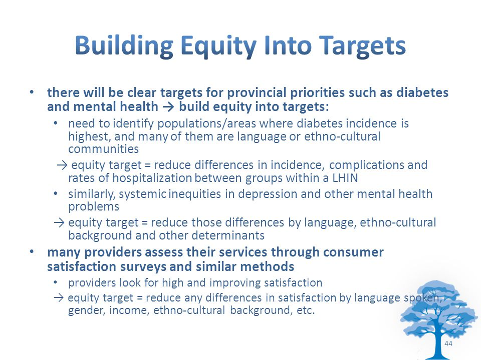 there will be clear targets for provincial priorities such as diabetes and mental health → build equity into targets: need to identify populations/areas where diabetes incidence is highest, and many of them are language or ethno-cultural communities → equity target = reduce differences in incidence, complications and rates of hospitalization between groups within a LHIN similarly, systemic inequities in depression and other mental health problems → equity target = reduce those differences by language, ethno-cultural background and other determinants many providers assess their services through consumer satisfaction surveys and similar methods providers look for high and improving satisfaction → equity target = reduce any differences in satisfaction by language spoken, gender, income, ethno-cultural background, etc.