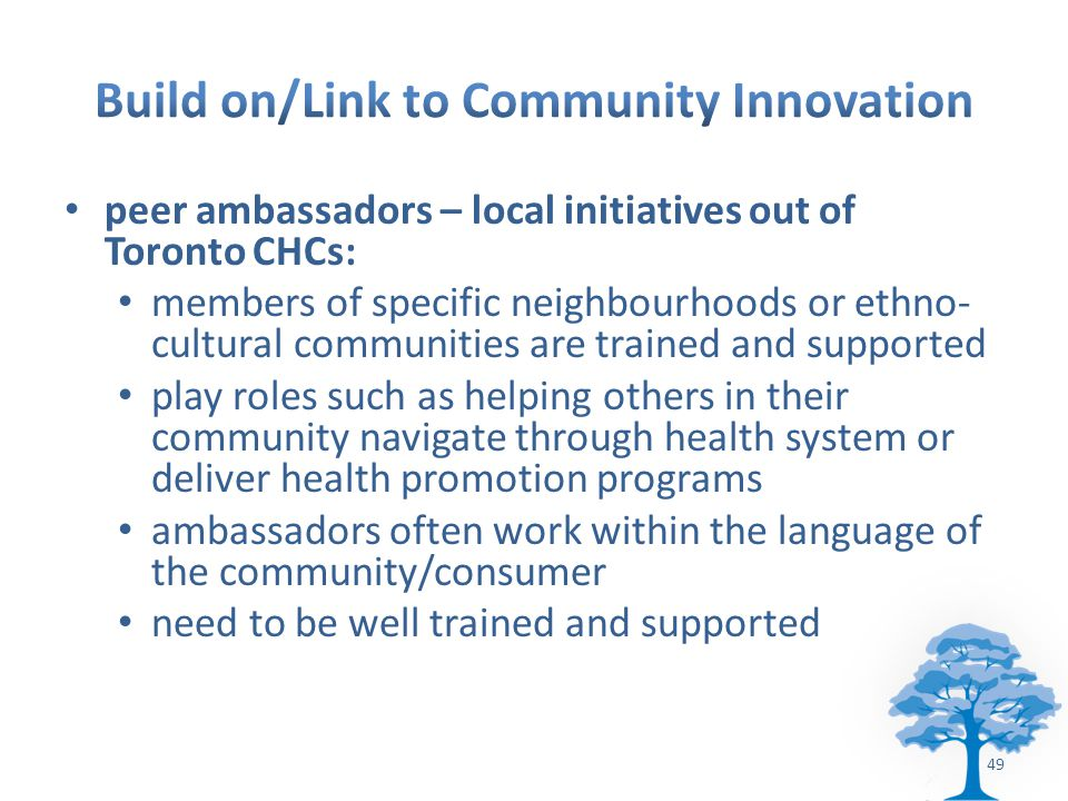 peer ambassadors – local initiatives out of Toronto CHCs: members of specific neighbourhoods or ethno- cultural communities are trained and supported play roles such as helping others in their community navigate through health system or deliver health promotion programs ambassadors often work within the language of the community/consumer need to be well trained and supported 49