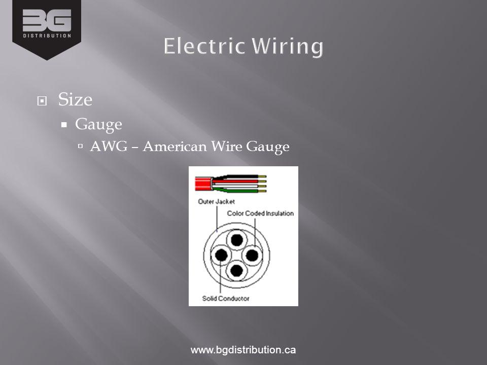 www.bgdistribution.ca  Size  Gauge  AWG – American Wire Gauge