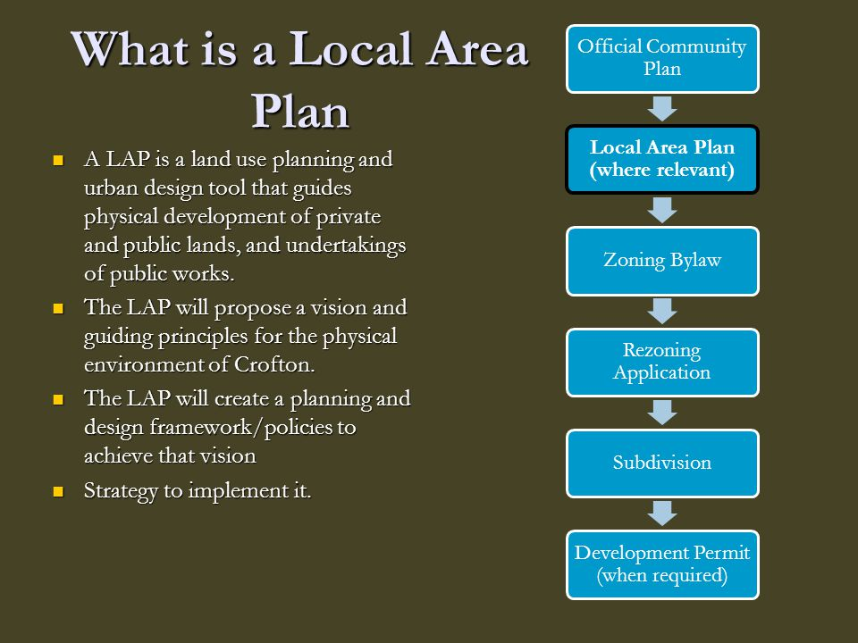 What is a Local Area Plan A LAP is a land use planning and urban design tool that guides physical development of private and public lands, and underta