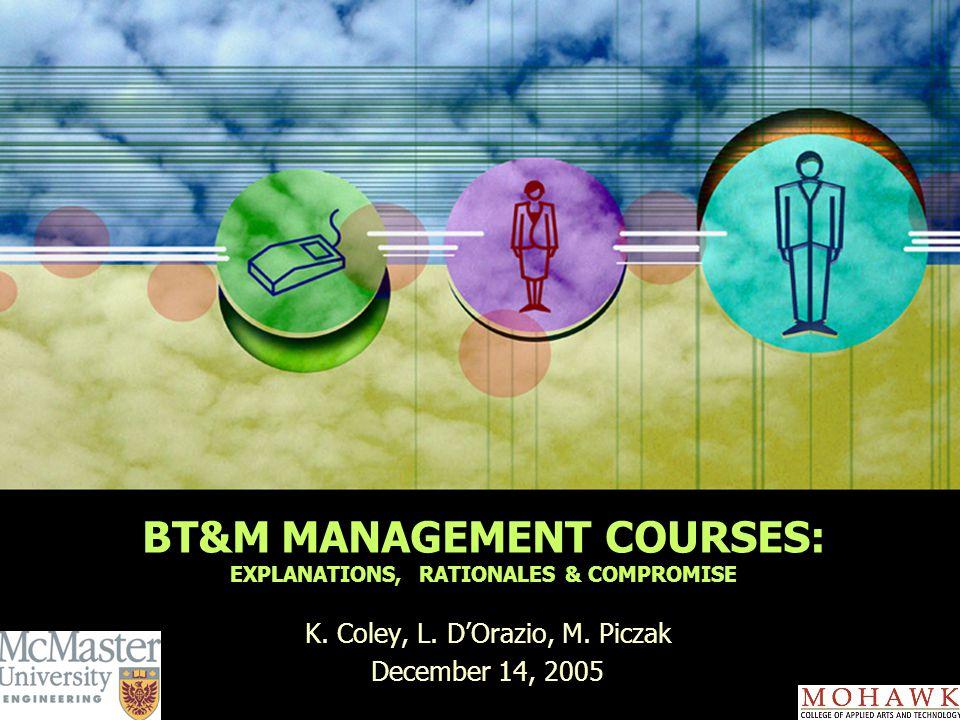 BT&M MANAGEMENT COURSES: EXPLANATIONS, RATIONALES & COMPROMISE K.