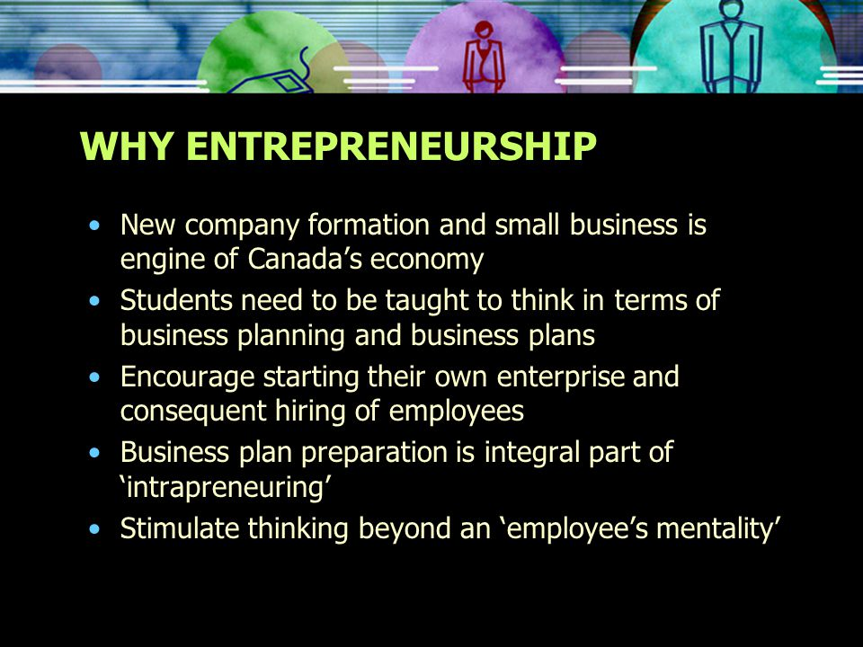 WHY ENTREPRENEURSHIP New company formation and small business is engine of Canada's economy Students need to be taught to think in terms of business planning and business plans Encourage starting their own enterprise and consequent hiring of employees Business plan preparation is integral part of 'intrapreneuring' Stimulate thinking beyond an 'employee's mentality'