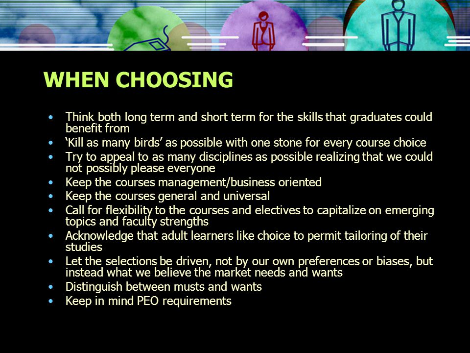 DISCIPLINE SPECIFIC ELECTIVES CITED Supply chain management TQM Ethics & IT law Accounting mathematics Health and safety management Finance Technical sales Economics and marketing Others