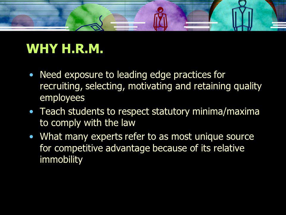 WHY H.R.M.