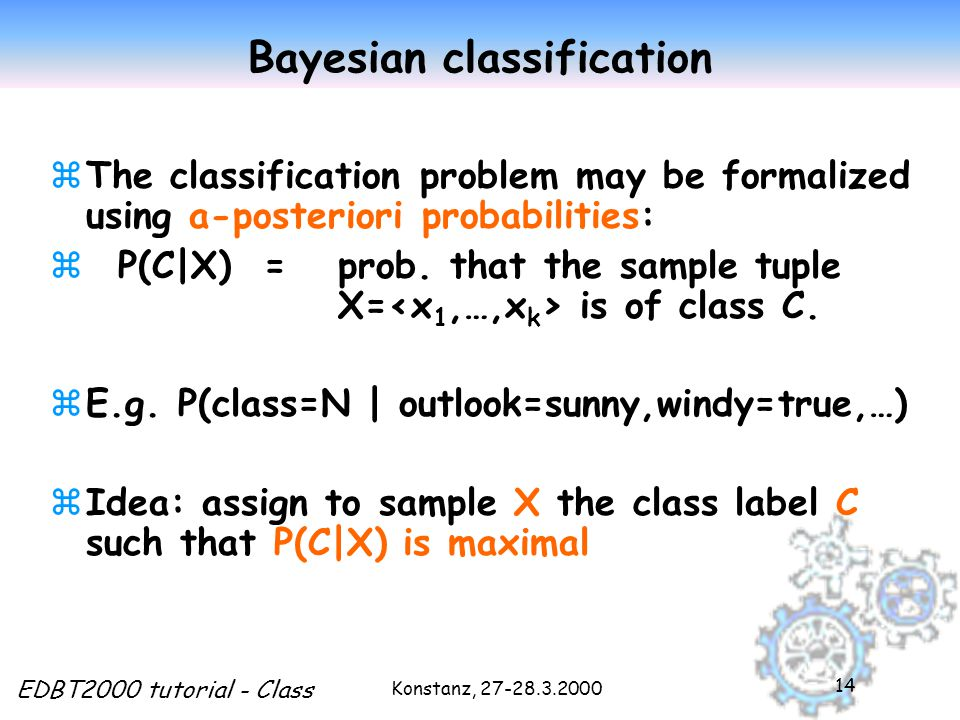 Konstanz, EDBT2000 tutorial - Class 14 Bayesian classification zThe classification problem may be formalized using a-posteriori probabilities: z P(C|X) = prob.