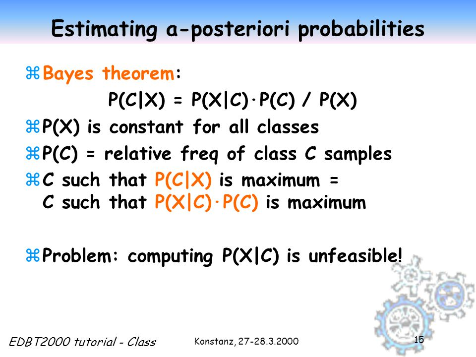 Konstanz, 27-28.3.2000 EDBT2000 tutorial - Class 15 Estimating a-posteriori probabilities zBayes theorem: P(C|X) = P(X|C)·P(C) / P(X) zP(X) is constant for all classes zP(C) = relative freq of class C samples zC such that P(C|X) is maximum = C such that P(X|C)·P(C) is maximum zProblem: computing P(X|C) is unfeasible!