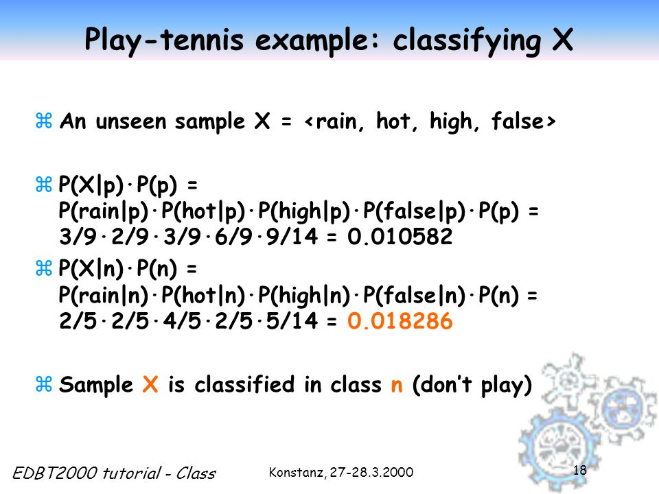 Konstanz, 27-28.3.2000 EDBT2000 tutorial - Class 18 Play-tennis example: classifying X zAn unseen sample X = zP(X|p)·P(p) = P(rain|p)·P(hot|p)·P(high|p)·P(false|p)·P(p) = 3/9·2/9·3/9·6/9·9/14 = 0.010582 zP(X|n)·P(n) = P(rain|n)·P(hot|n)·P(high|n)·P(false|n)·P(n) = 2/5·2/5·4/5·2/5·5/14 = 0.018286 zSample X is classified in class n (don't play)