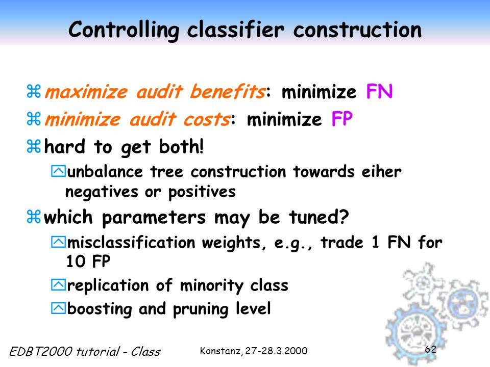 Konstanz, 27-28.3.2000 EDBT2000 tutorial - Class 62 Controlling classifier construction zmaximize audit benefits: minimize FN zminimize audit costs: minimize FP zhard to get both.