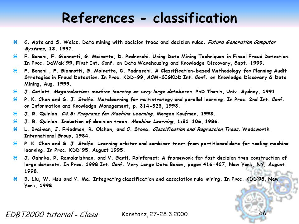 Konstanz, 27-28.3.2000 EDBT2000 tutorial - Class 66 References - classification zC.