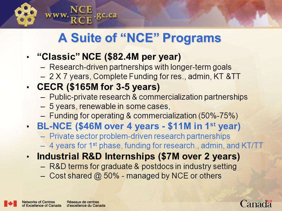 A Suite of NCE Programs Classic NCE ($82.4M per year) –Research-driven partnerships with longer-term goals –2 X 7 years, Complete Funding for res., admin, KT &TT CECR ($165M for 3-5 years) –Public-private research & commercialization partnerships –5 years, renewable in some cases, –Funding for operating & commercialization (50%-75%) BL-NCE ($46M over 4 years - $11M in 1 st year) –Private sector problem-driven research partnerships –4 years for 1 st phase, funding for research., admin, and KT/TT Industrial R&D Internships ($7M over 2 years) –R&D terms for graduate & postdocs in industry setting –Cost 50% - managed by NCE or others