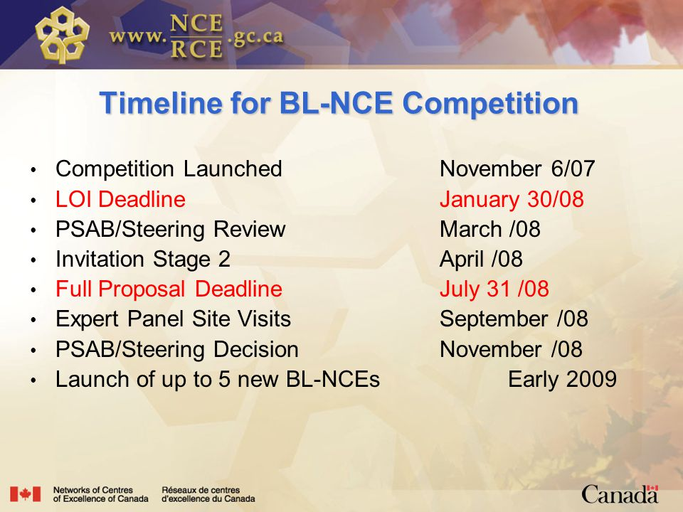 Timeline for BL-NCE Competition Competition LaunchedNovember 6/07 LOI DeadlineJanuary 30/08 PSAB/Steering ReviewMarch /08 Invitation Stage 2April /08 Full Proposal DeadlineJuly 31 /08 Expert Panel Site VisitsSeptember /08 PSAB/Steering DecisionNovember /08 Launch of up to 5 new BL-NCEsEarly 2009