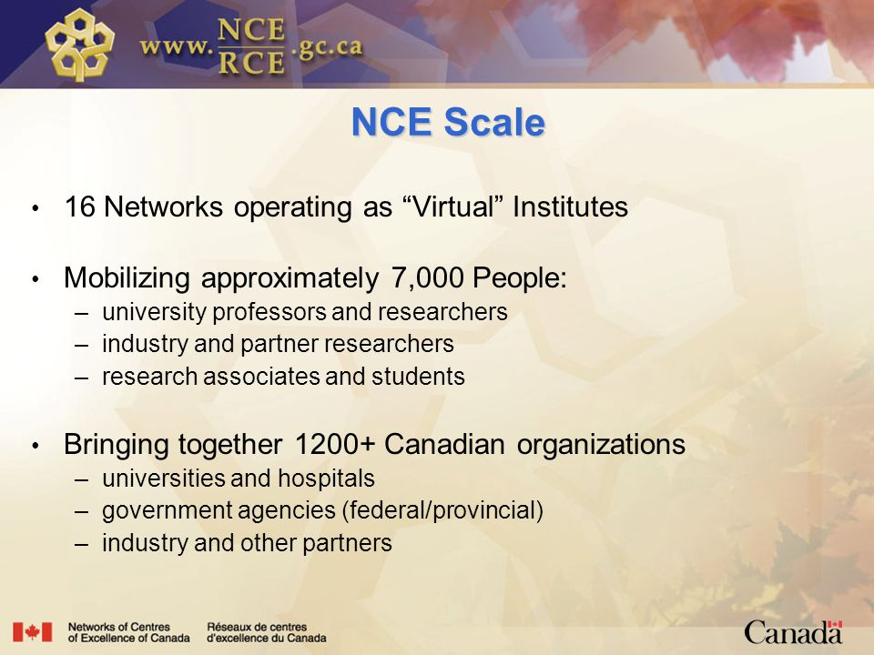 NCE Scale 16 Networks operating as Virtual Institutes Mobilizing approximately 7,000 People: –university professors and researchers –industry and partner researchers –research associates and students Bringing together Canadian organizations –universities and hospitals –government agencies (federal/provincial) –industry and other partners
