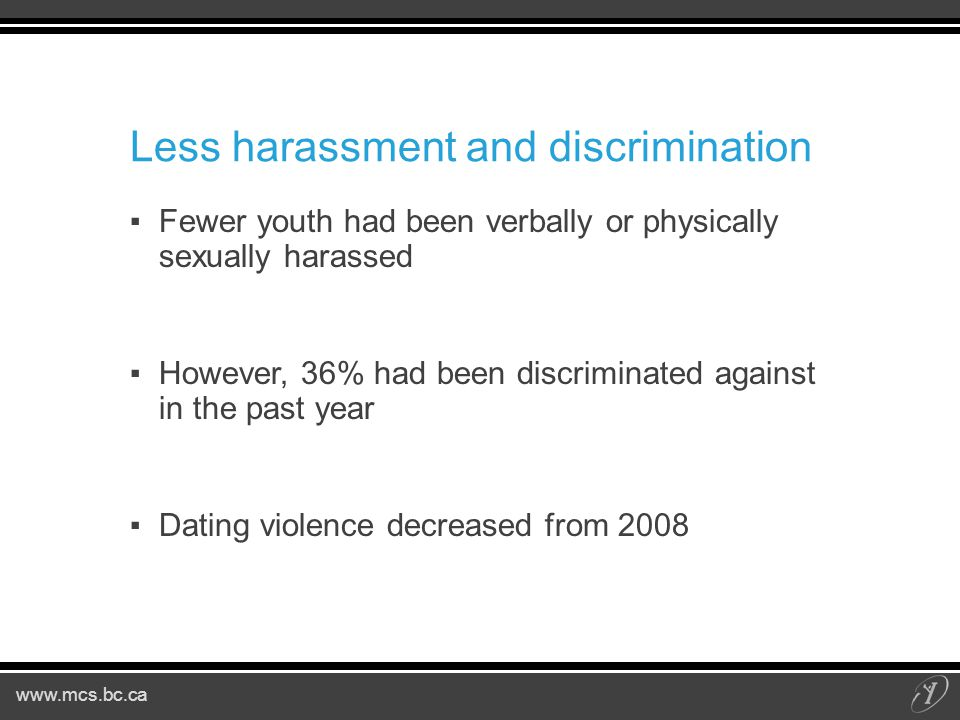Less harassment and discrimination ▪Fewer youth had been verbally or physically sexually harassed ▪However, 36% had been discriminated against in the past year ▪Dating violence decreased from 2008