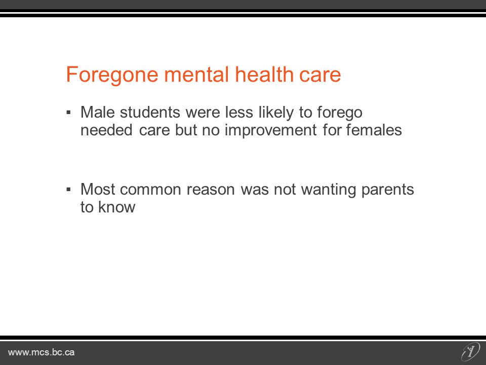 Foregone mental health care ▪Male students were less likely to forego needed care but no improvement for females ▪Most common reason was not wanting parents to know