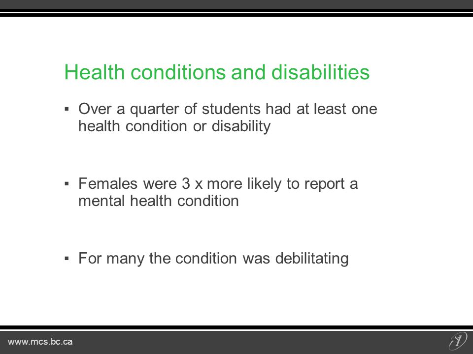 Health conditions and disabilities ▪Over a quarter of students had at least one health condition or disability ▪Females were 3 x more likely to report a mental health condition ▪For many the condition was debilitating