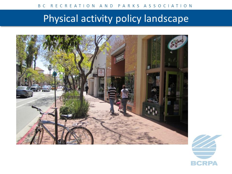 BC RECREATION AND PARKS ASSOCIATION Physical activity policy landscape Some priorities for supporting physical activity: 1.Active, healthy people and