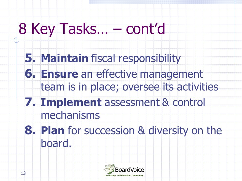 13 8 Key Tasks… – cont'd 5. Maintain fiscal responsibility 6. Ensure an effective management team is in place; oversee its activities 7. Implement ass