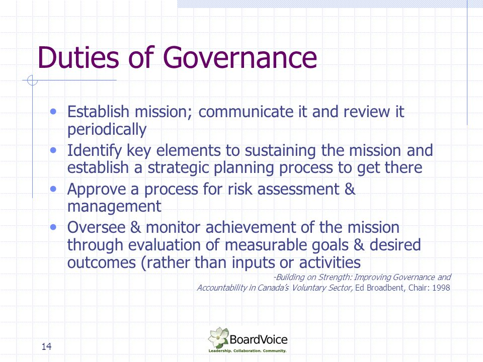 14 Duties of Governance Establish mission; communicate it and review it periodically Identify key elements to sustaining the mission and establish a s