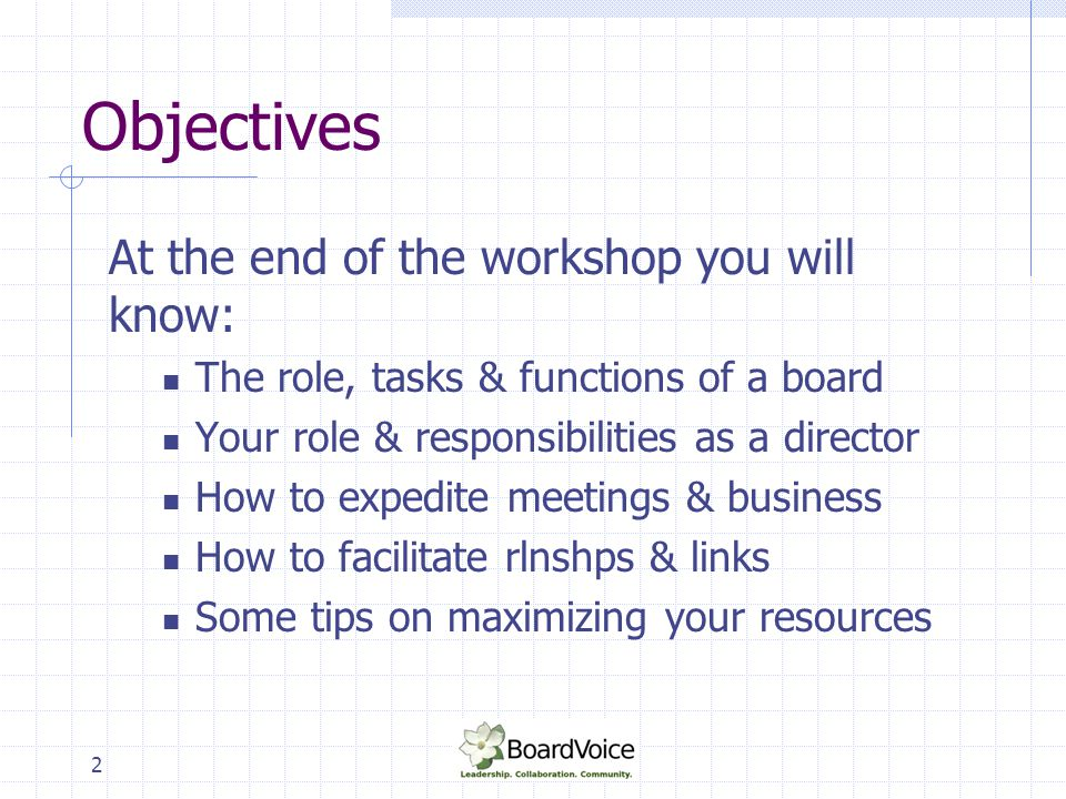 2 Objectives At the end of the workshop you will know: The role, tasks & functions of a board Your role & responsibilities as a director How to expedi
