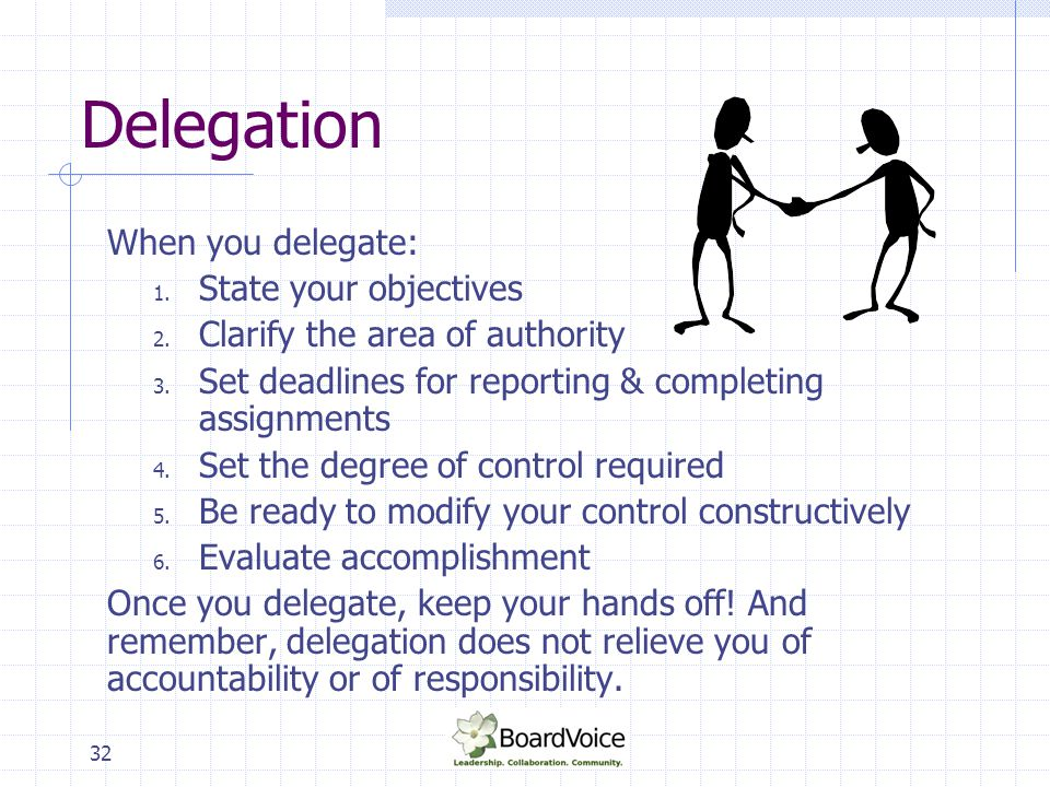 32 Delegation When you delegate: 1. State your objectives 2. Clarify the area of authority 3. Set deadlines for reporting & completing assignments 4.