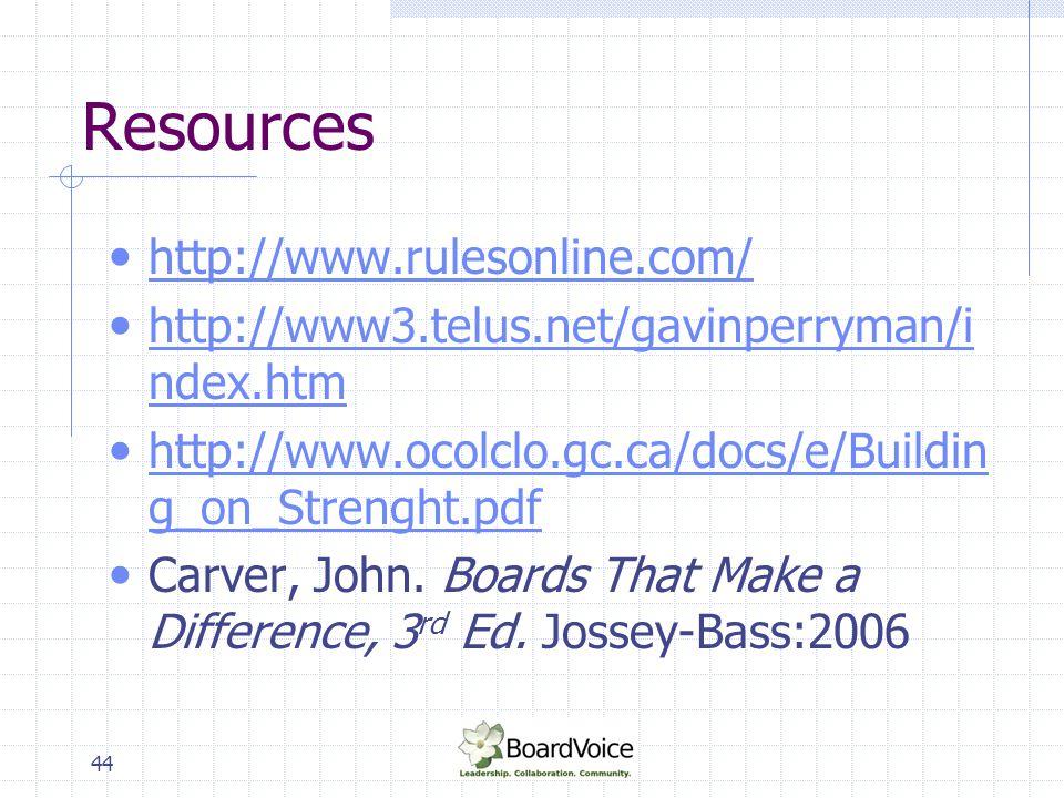 44 Resources http://www.rulesonline.com/ http://www3.telus.net/gavinperryman/i ndex.htm http://www3.telus.net/gavinperryman/i ndex.htm http://www.ocol