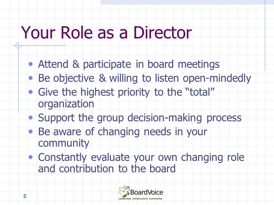 """8 Your Role as a Director Attend & participate in board meetings Be objective & willing to listen open-mindedly Give the highest priority to the """"tota"""