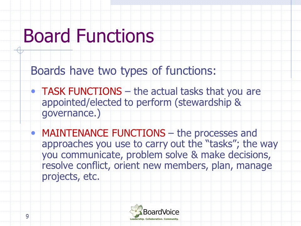 9 Board Functions Boards have two types of functions: TASK FUNCTIONS – the actual tasks that you are appointed/elected to perform (stewardship & gover