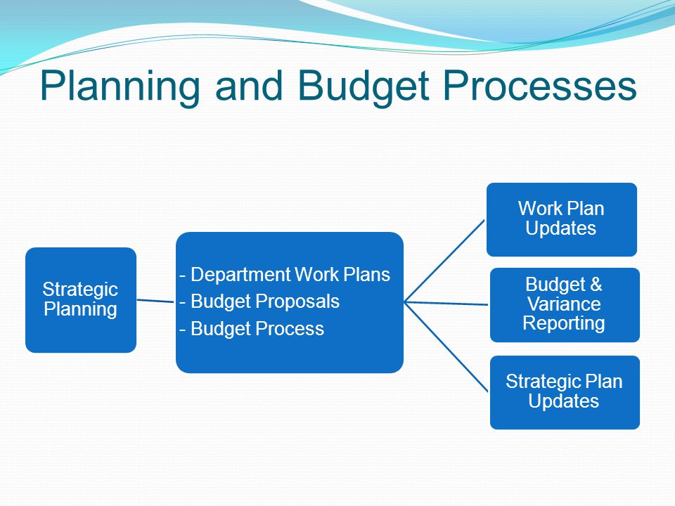 Planning and Budget Processes Strategic Planning - Department Work Plans - Budget Proposals - Budget Process Work Plan Updates Budget & Variance Reporting Strategic Plan Updates