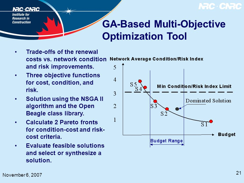 21 November 6, 2007 GA-Based Multi-Objective Optimization Tool Trade-offs of the renewal costs vs.